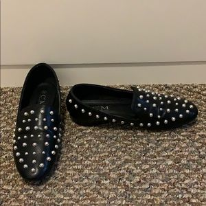 Nasty Gal black silver studded loafers